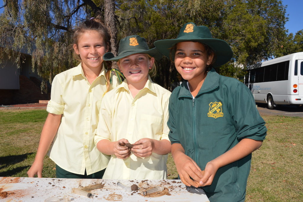 Wee Waa girls learn how to conduct a soil texture test.